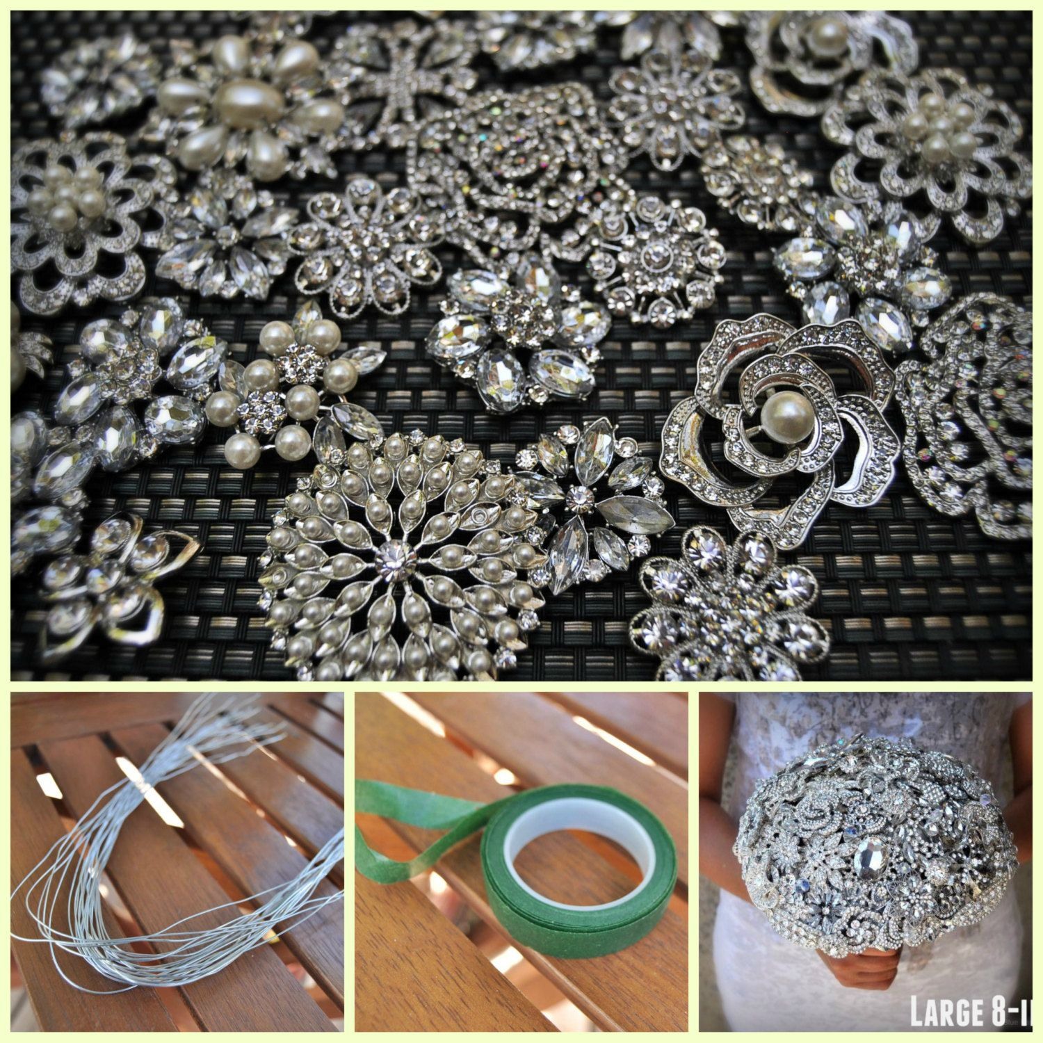 DIY Brooch Bouquet Kit 75 Pieces LARGE by BluePetyl on
