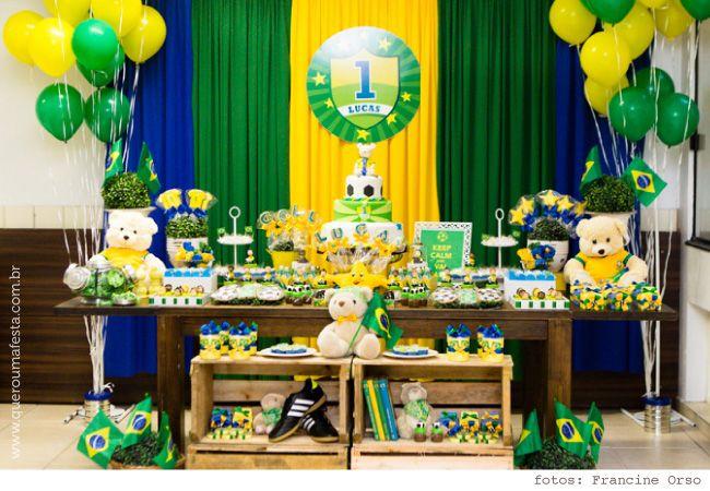 Mesa Decorada Festa Copa Do Mundo Com Imagens Decoracao Copa