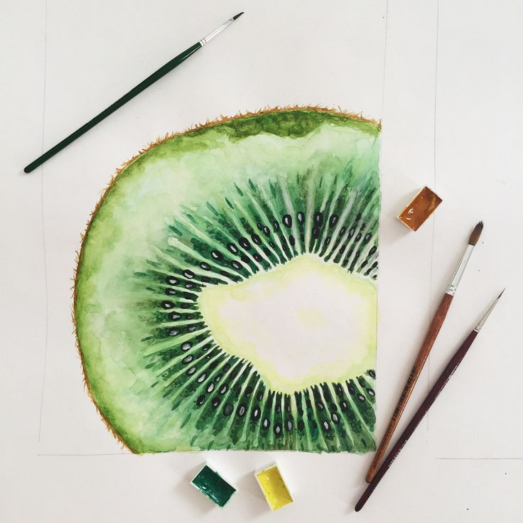 Kiwi, watercolor, painting, art, for beginners, #Art #Beginners #Kiwi #Painting #Watercolor ...