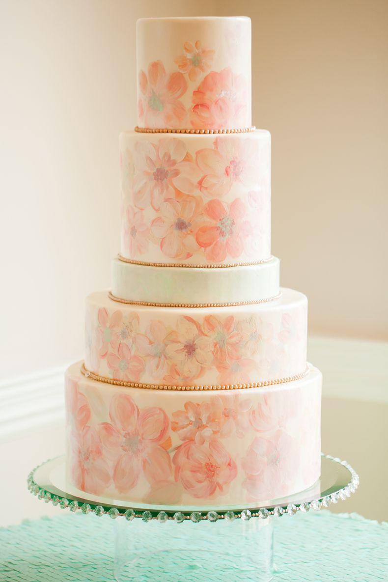 Handpainted florals on a cake...who says they have to actual blossoms?  Cake: www.stlbridalsweets.com Photo: www.caseyhphotos.com
