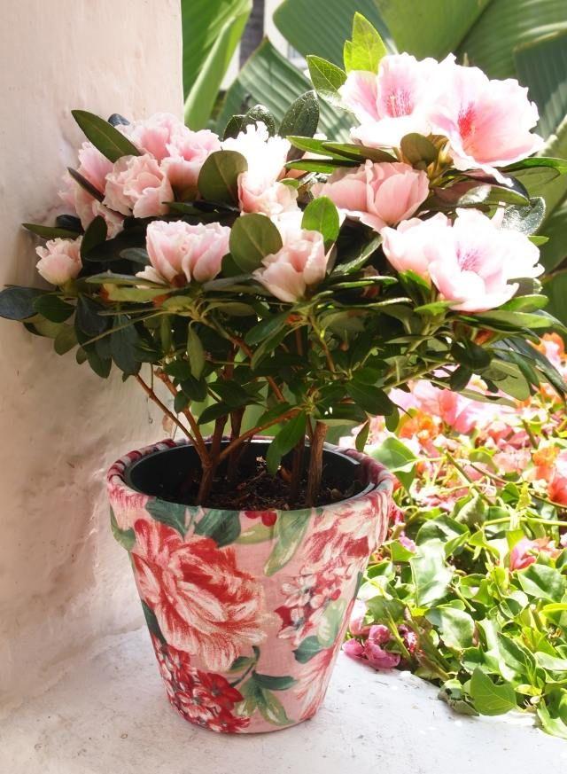 blumentopf selber machen stoff rosen motive | Deko blumen ...