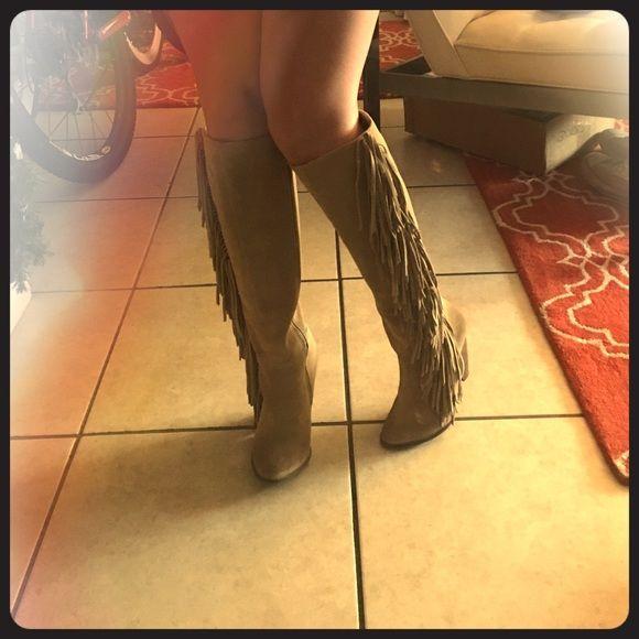 Never Worn, MIA Knee High Fringe Boots Brand new MIA fringe boots MIA Shoes Heeled Boots