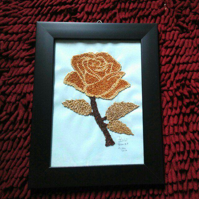 Hasil Gambar Untuk Kerajinan Tangan Dari Biji Bijian Menggambar Bunga Matahari Kolase Gambar Bunga
