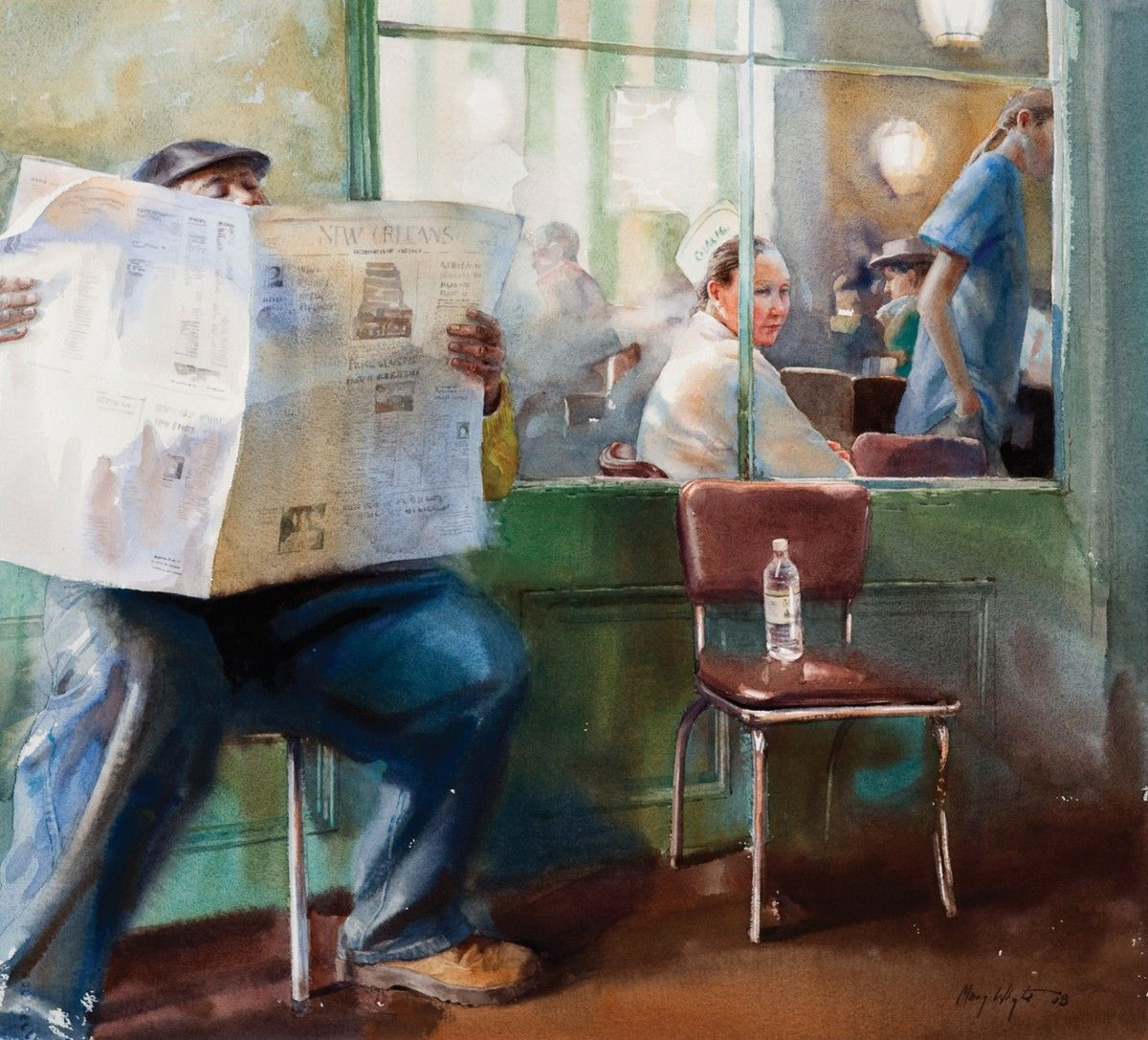 Watercolor books by mary whyte - The News At Cafe Dumonde Watercolor Mary Whyte