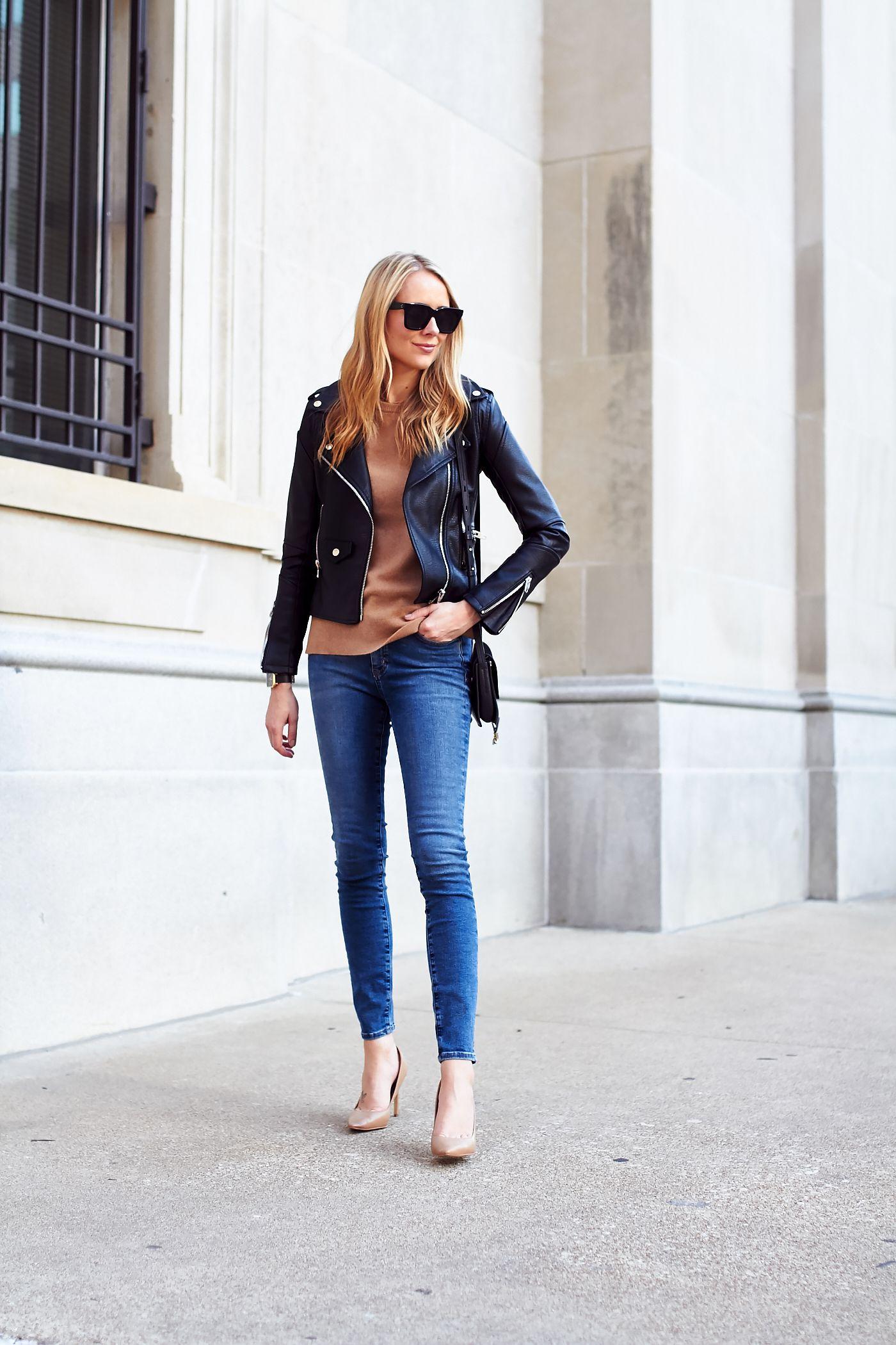 Fashion Jackson // BLANKNYC easy rider black leather jacket, camel ...