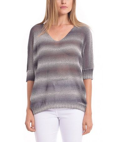 Another great find on #zulily! Black & Ivory Ombré V-Neck Top by Zero Degrees Celsius #zulilyfinds