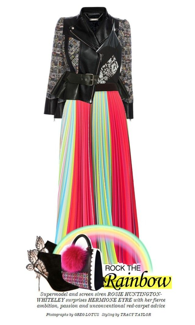 """""""Mary Katrantzou Rainbow pleated georgette skirt"""" by esterp ❤ liked on Polyvore featuring Alexander McQueen, Maison Margiela, Mary Katrantzou, Sophia Webster, Whiteley and Les Petits Joueurs"""