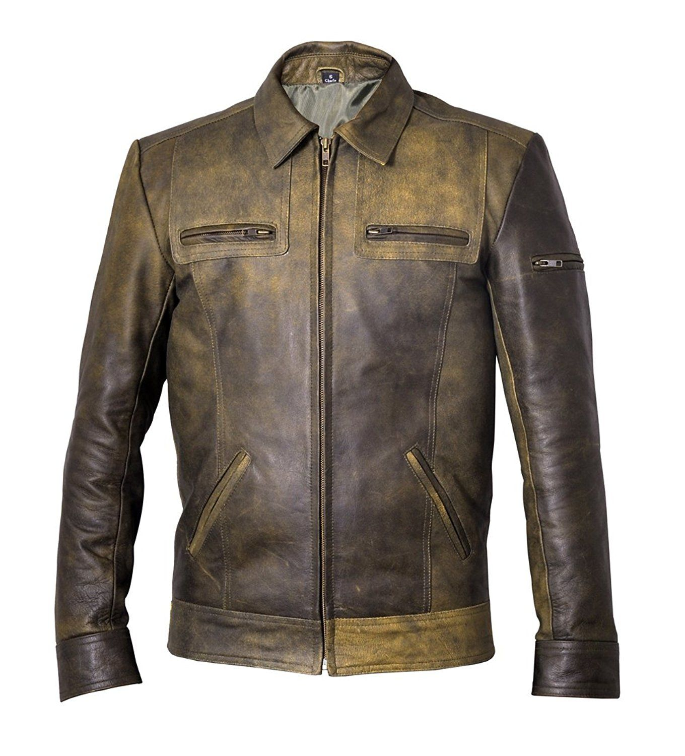 Classic Olive Green Mens Leather Jacket at Amazon Men's