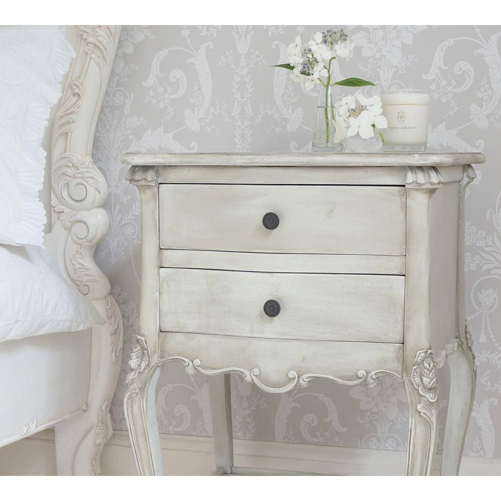 French Grey Rattan Bedside Table 2 Drawer Side In