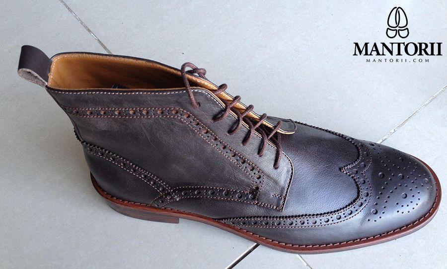 Mantorii Full Brogue Boots in Dark Brown  Custom handmade