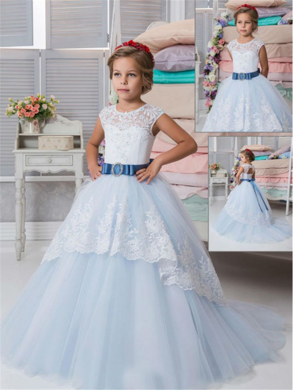 Mermaid Flower Dresses For Wedding Ankle Length Mother Daughter Ball Gown First Communion S