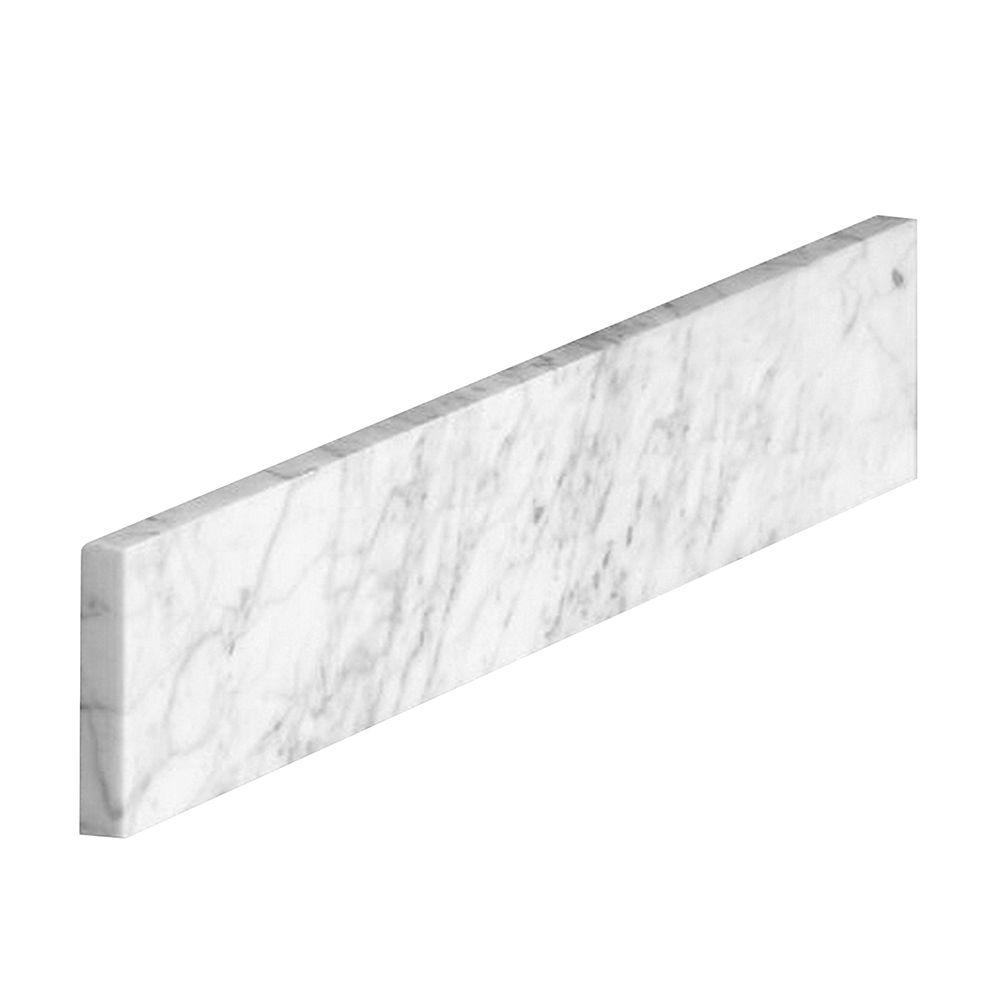 Home Decorators Collection 18 In Marble Sidesplash In Carrara 41108 The Home Depot In 2020 Marble Vanity Tops Carrara White Sink