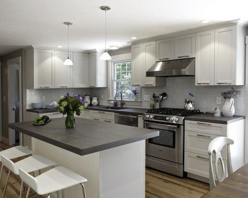 17 Ideas For Grey Kitchens That Are: White Kitchen Cabinets With Dark Grey Countertops 3523