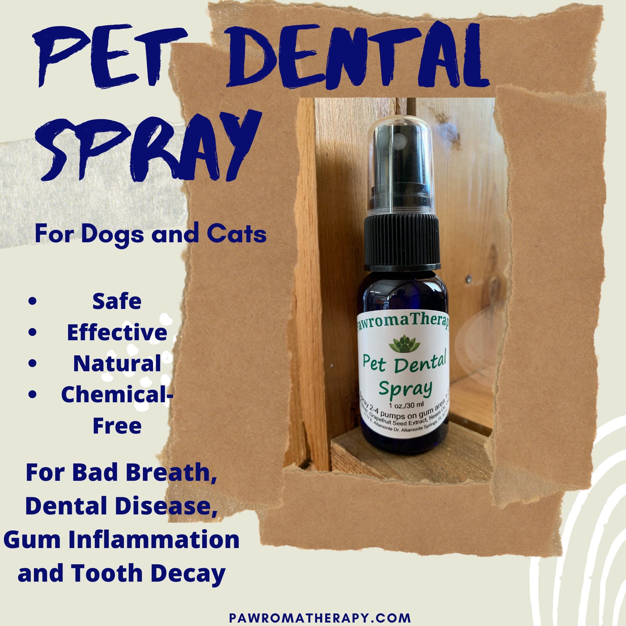 Natural Pet Dental Care Spray for Dogs and Cats, 1oz