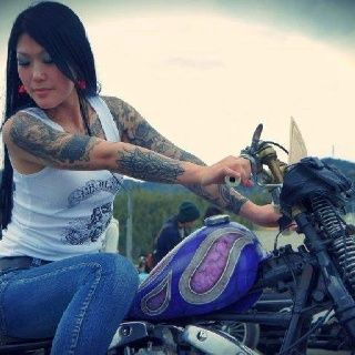 Biker queens sleeve tattoos arm tattoos biker chicks for Biker chick tattoos