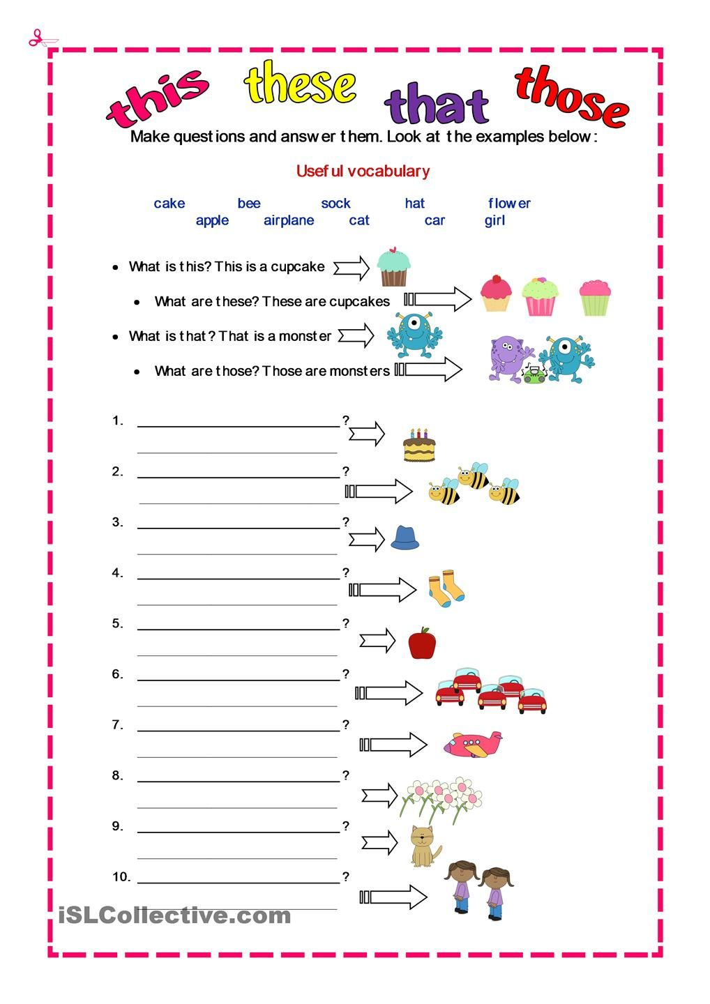 DEMONSTRATIVES English worksheets for kids