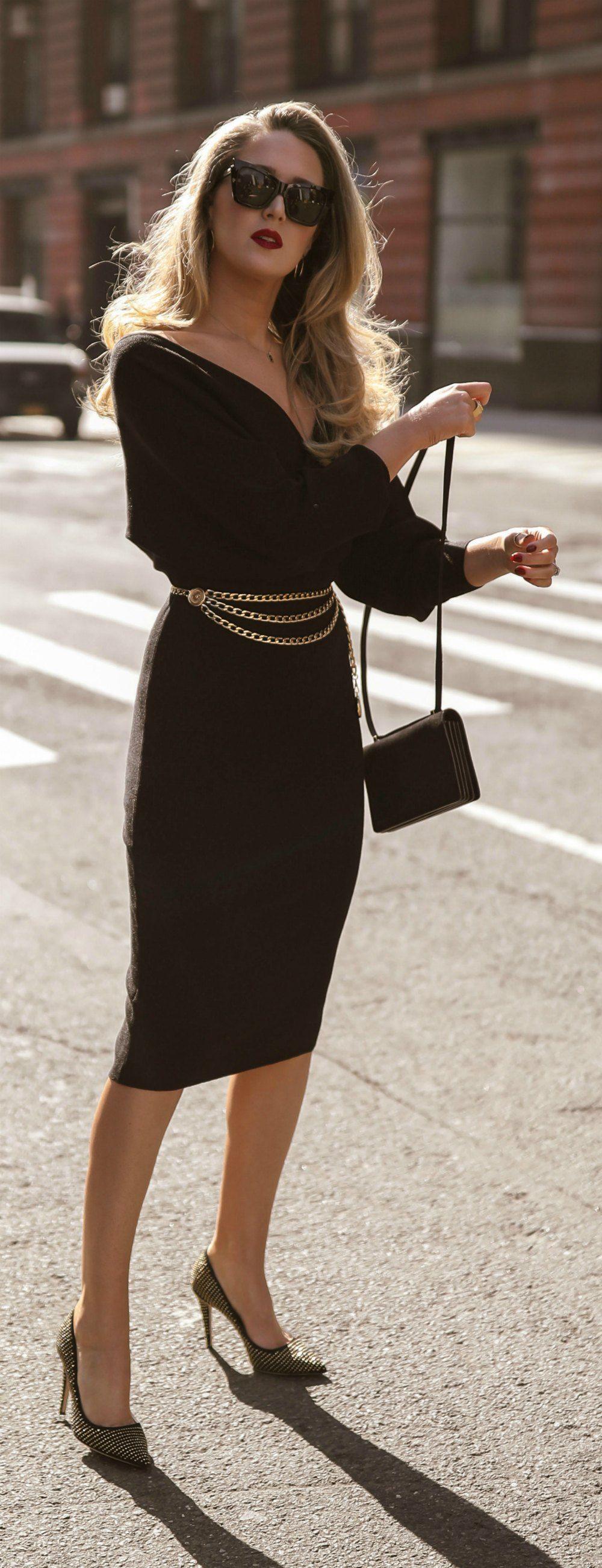 Click For Outfit Details Black Faux Wrap Long Sleeve Midi Dress Black Gold Stud Pumps Vintage Gold Chain Black Dresses Classy Belt Dress Outfit Fashion [ 2605 x 1000 Pixel ]