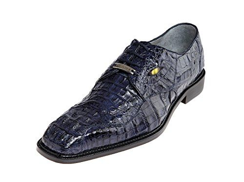 Belvedere Men's T-Rex Genuine Hornback Crocodile Exotic Skin Oxford Dress  Shoes With Eyes 1465