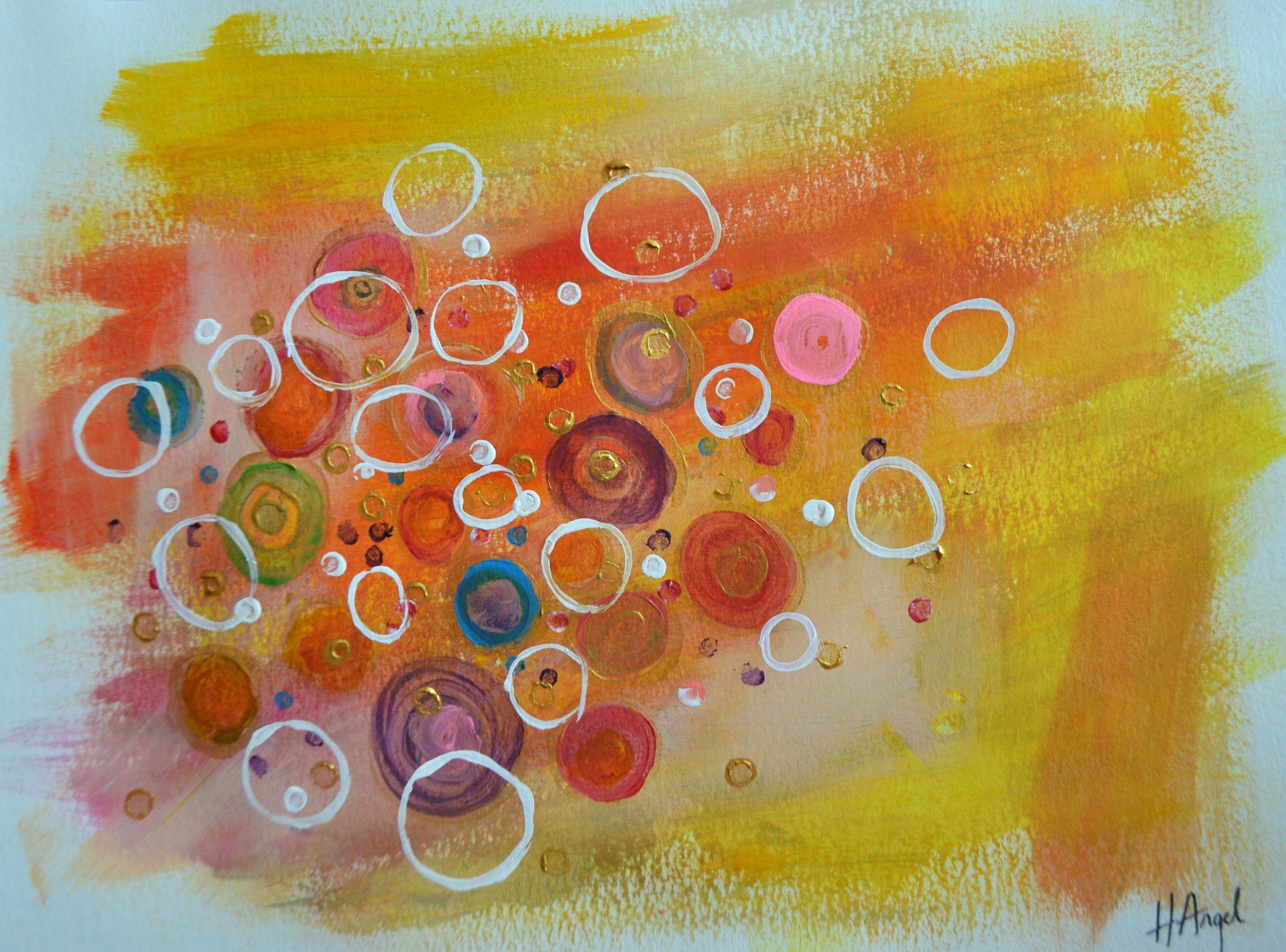 "For Sale: Abstract Summer by Henrieta Angel | $100 | 12""w 9""h | Original Art | https://www.vangoart.co/henrietaangel/abstract-summer @VangoArt"