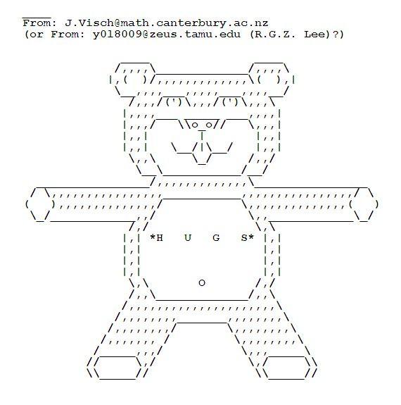 A big ASCII art Teddy Bear hug | ASCII Art Hugs | Ascii art, Teddy