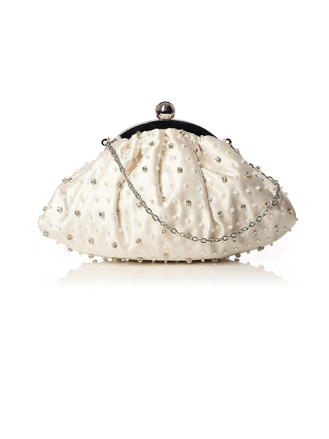 Women's Hand Beaded Matte Satin Bridal Clutch with Optional Chain by Dessy * Visit the image link more details.
