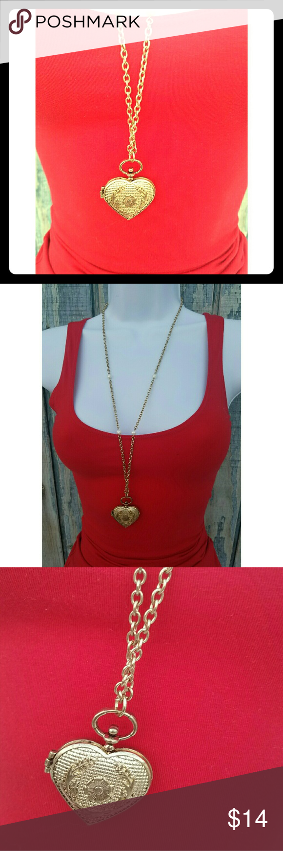 ☙24HR SALE☙ Vintage Gold Heart Pendant Necklace Vintage Gold Heart Shaped Pendant Necklace w/Pearls on chain. Jewelry Necklaces