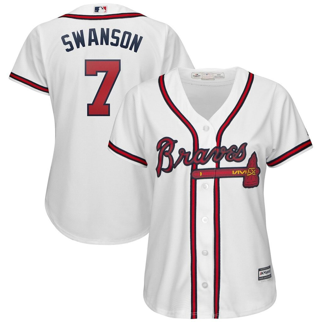 Women S Majestic Dansby Swanson White Atlanta Braves 2019 Home Cool Base Player Jersey Size Small Brv White Atlanta Braves Braves