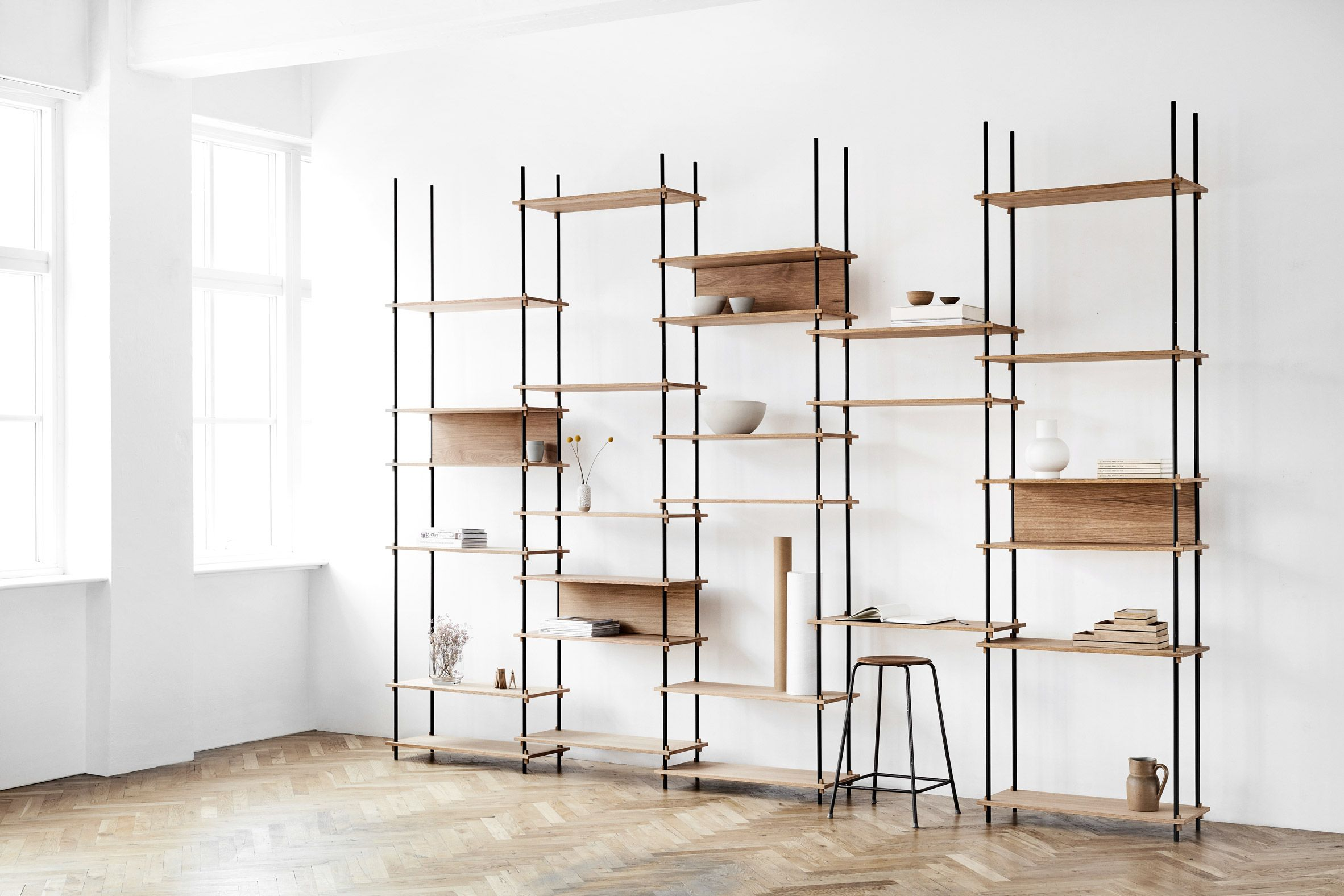 Moebe Creates Flexible Shelving System That Is Held Together By