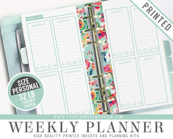 Personal Weekly Planner Inserts (PRINTED) - LAYLA Collection - microsoft weekly planner