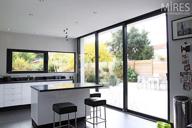 baie vitr e alu gris grandes largeurs deco house. Black Bedroom Furniture Sets. Home Design Ideas