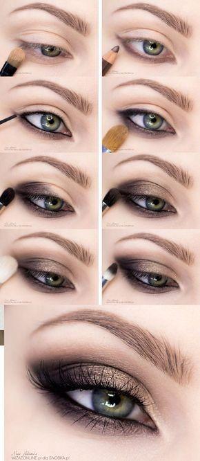 Tutorial de olhos esfumados com marrom, preto e dourado. #makeup #maquiagem…: