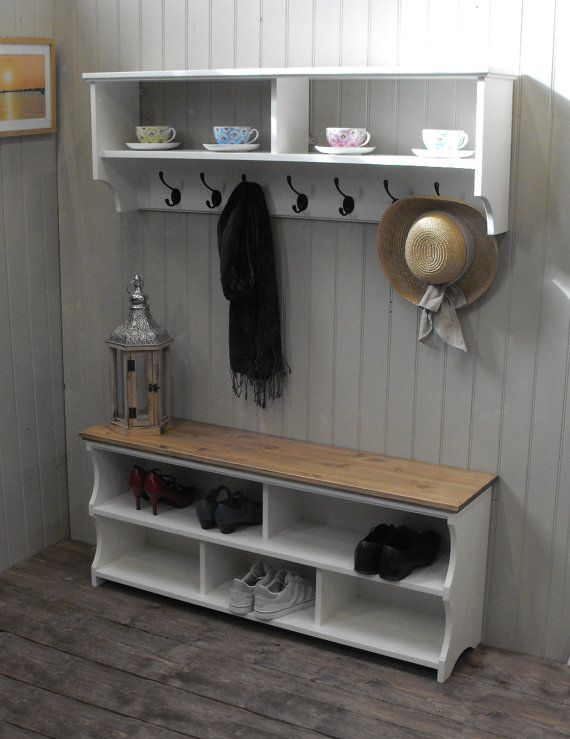 Lovely Storage Hall Bench with Shelves