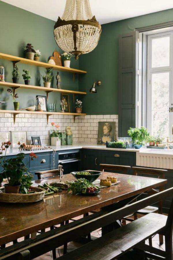 Dark Green Paint Colors Autumnal Green Inspiration Hello Lovely In 2020 Green Interior Design Devol Kitchens Kitchen Interior