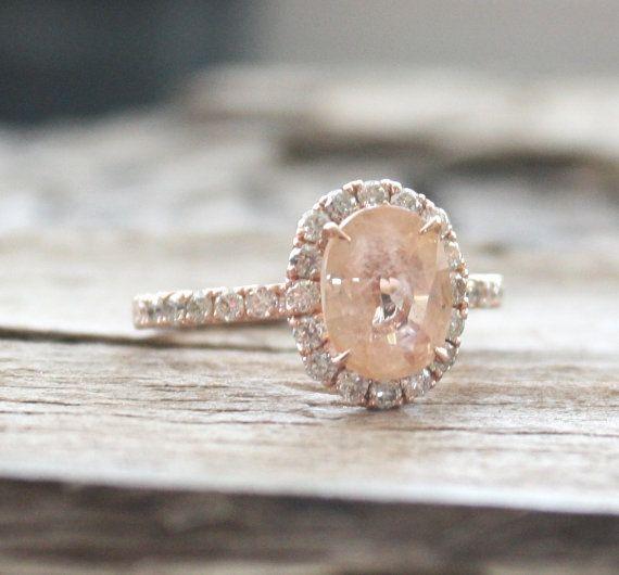 2.72 Cts. Rare Oval Peach Champagne Sapphire Diamond by Studio1040