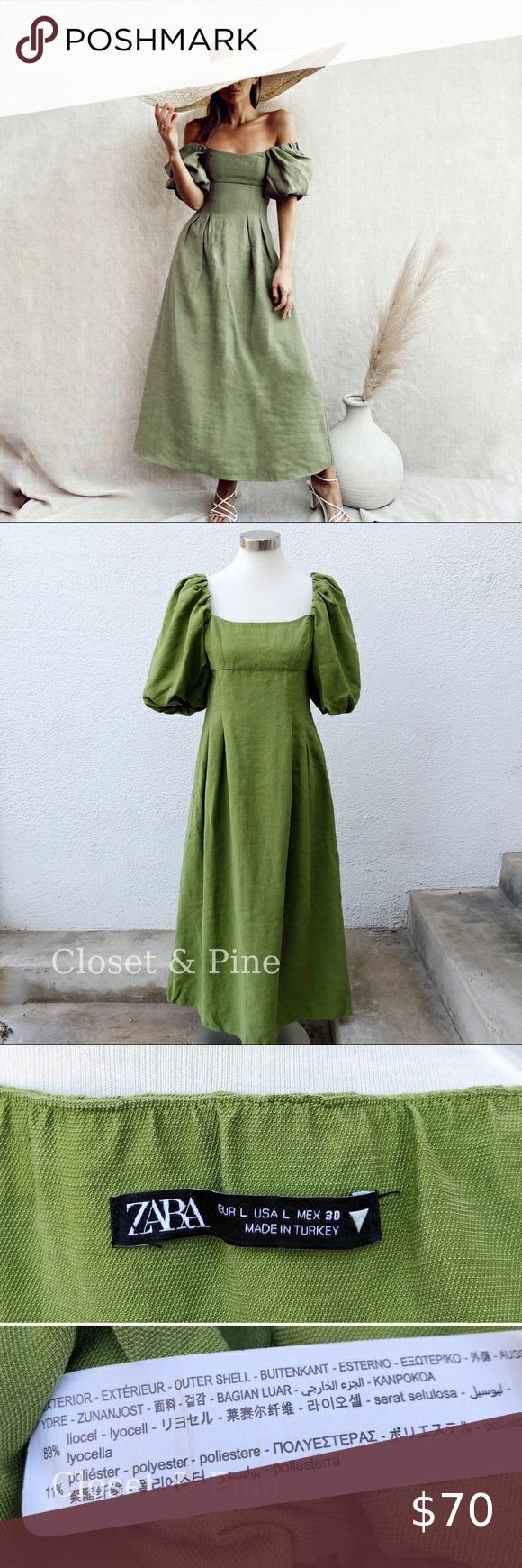 Zara Puff Sleeve Midi Dress Apple Green Size Large Apple Dress Puff Sleeve Midi Dresses Puff Sleeve [ 1740 x 580 Pixel ]