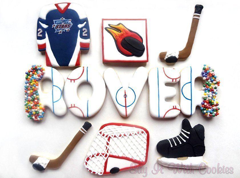 Hockey Cookies Hand Decorated Sugar Cookies Decorated Fancy Cookies Hockey Birthday