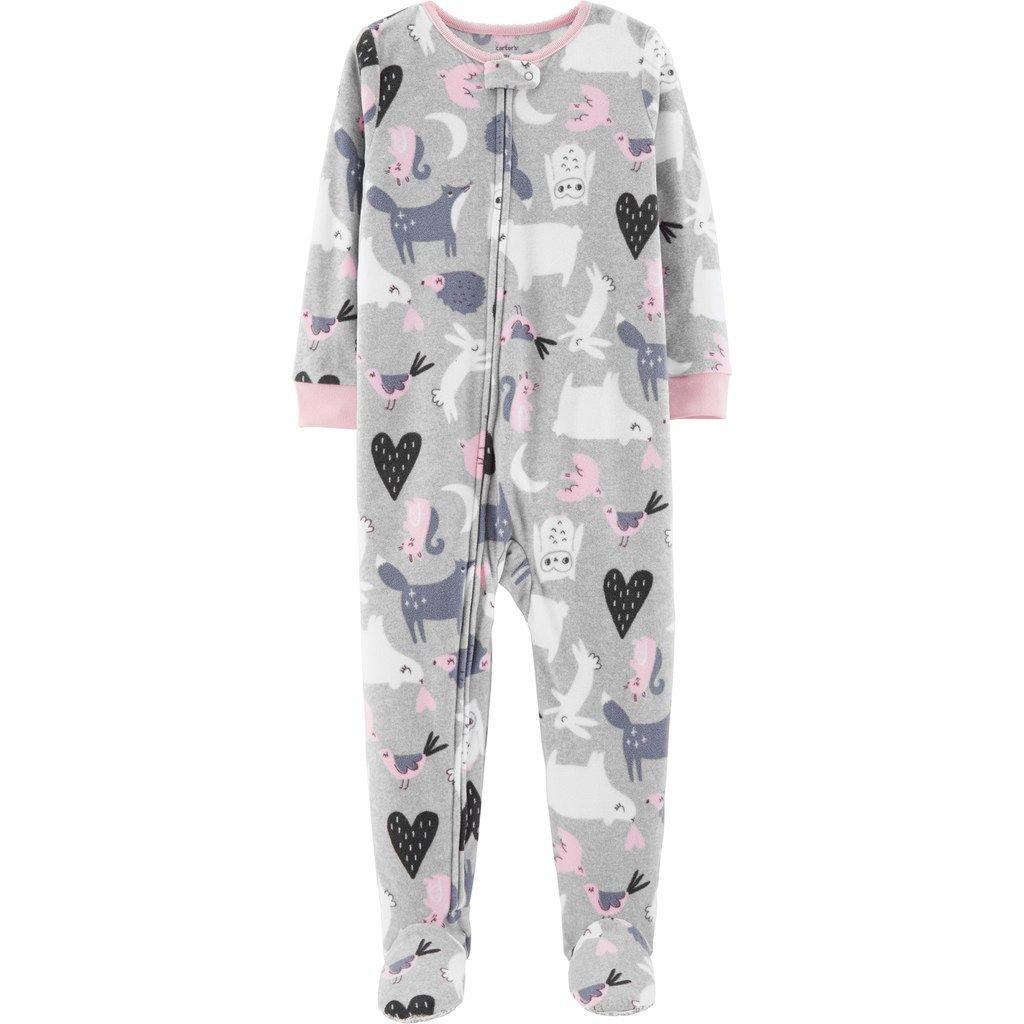 b91abc32ef89 Baby Girl Carter s Printed Microfleece Footed Pajamas