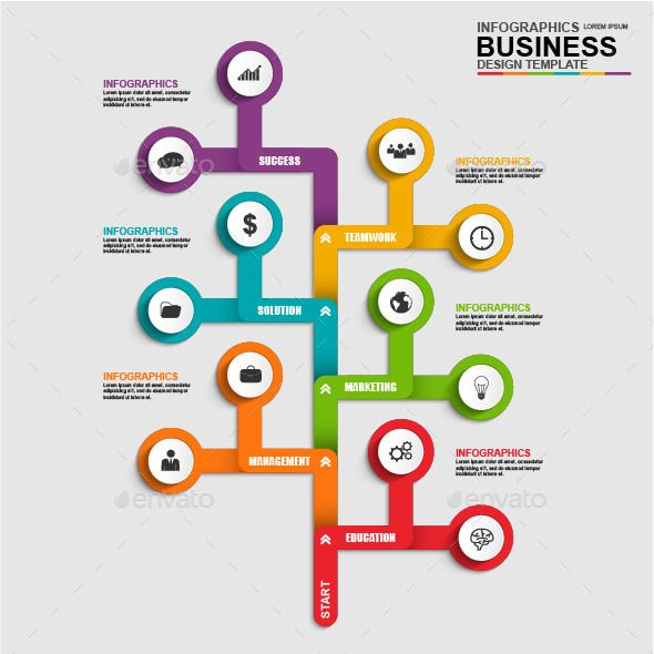 Abstract 3D Business Tree Timeline Infographic Timeline