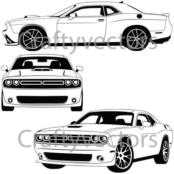 Dodge Challenger 2015 Vector File Etsy 2015 Dodge Challenger Dodge Challenger Challenger