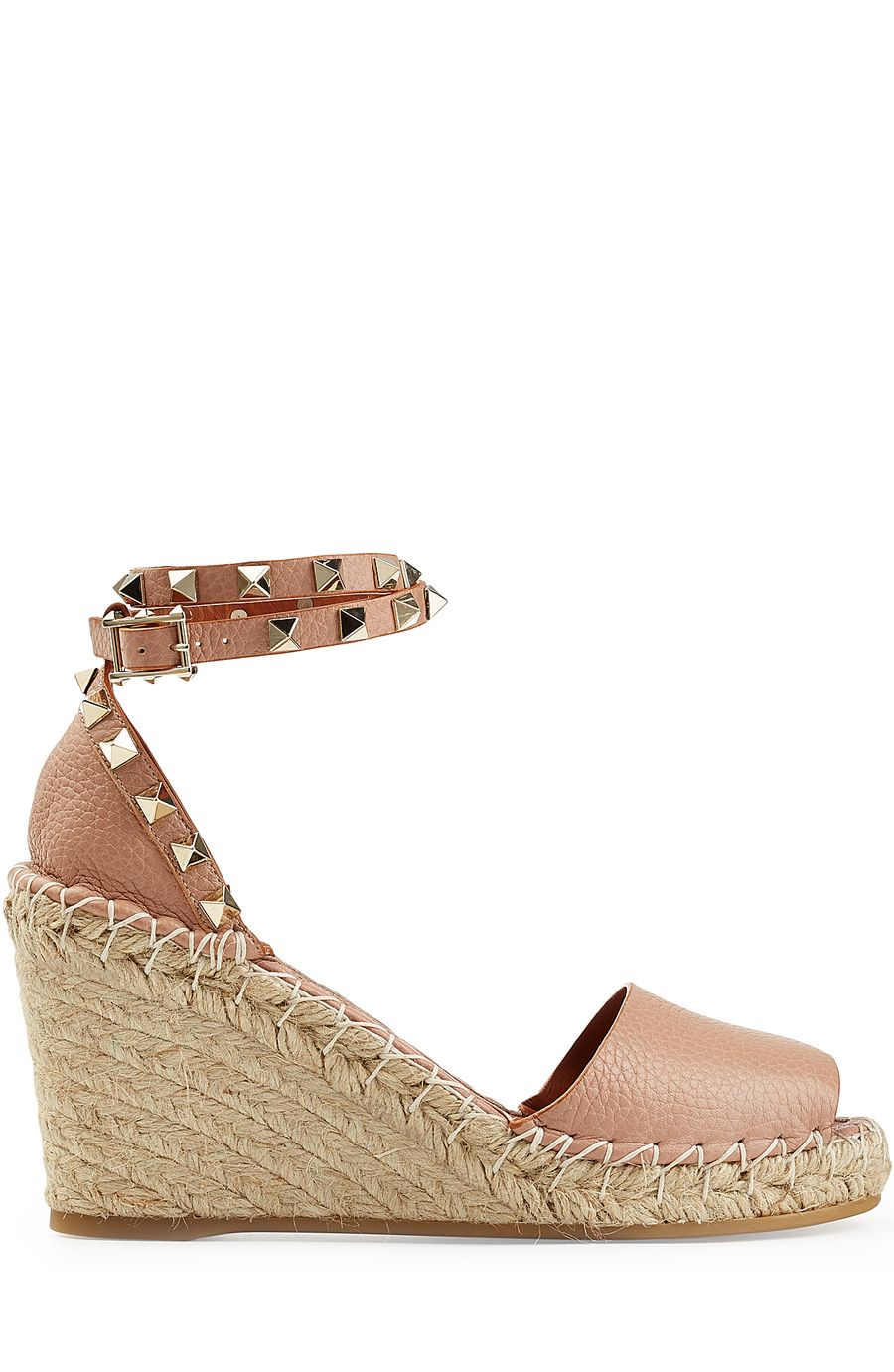 e118b93a6c5 VALENTINO Leather Espadrille Wedge Sandals With Rockstud Trim ...