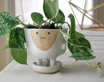 Ceramic planter with legs   Etsy