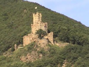 The ruins of Ehrenfels Castle 1211 along the Rhine River