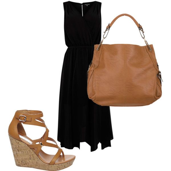 Black dress brown accents