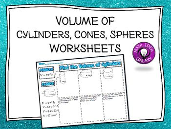 Volume of Cylinders Spheres and Cones Activity: Group ...