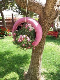 Photo of Gartengestaltung im Hintergrund – UMWELTFREUNDLICHE ABFALLREIFEN DIY DESIGN UND IDEEN