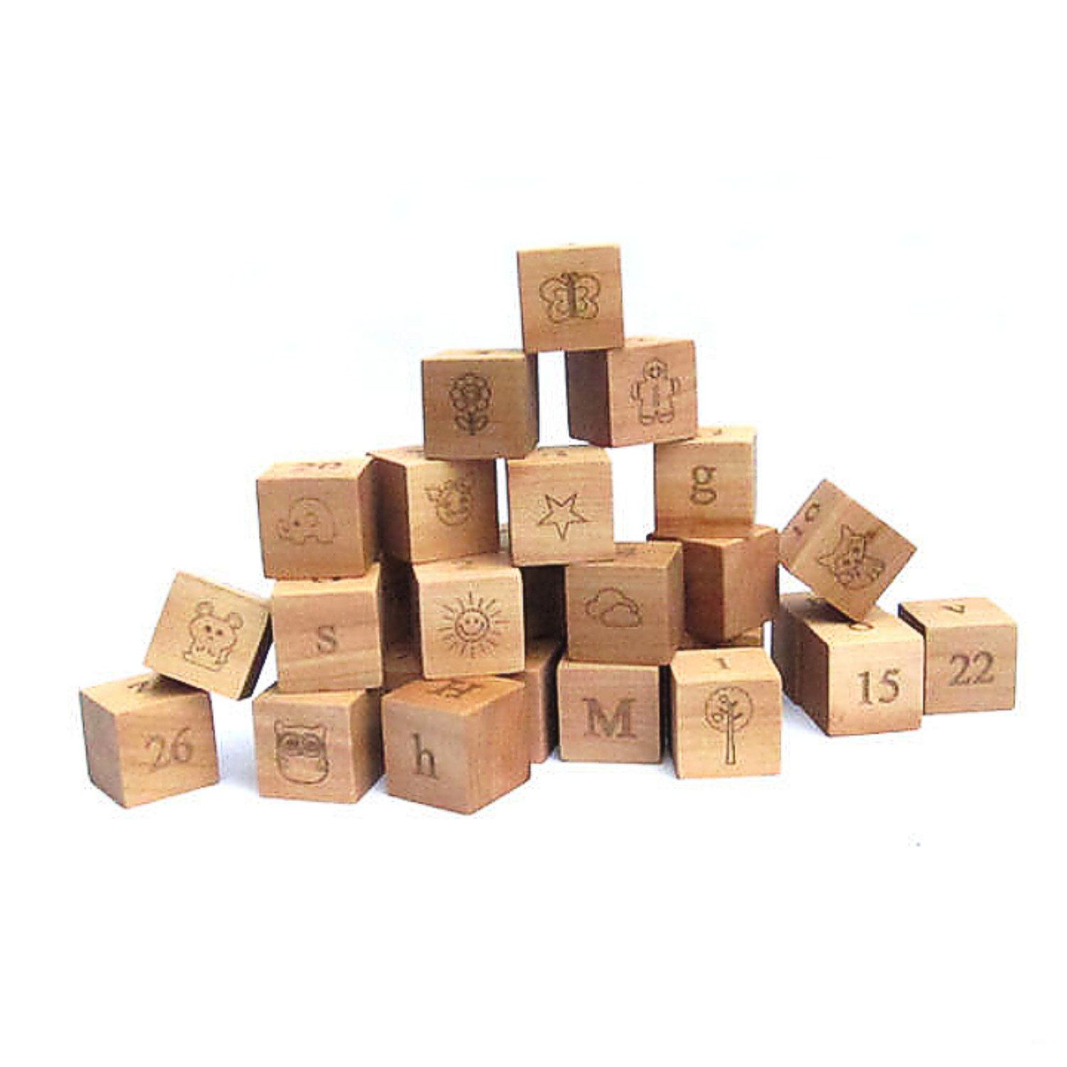 wood toy wooden stacking blocks 32 building letter number ...