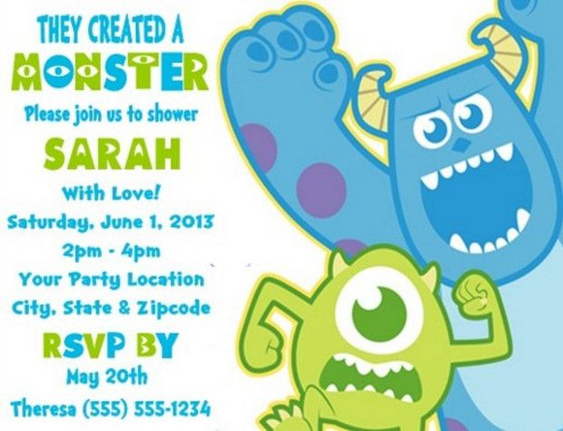 Monsters Inc Baby Shower Invitation Wording