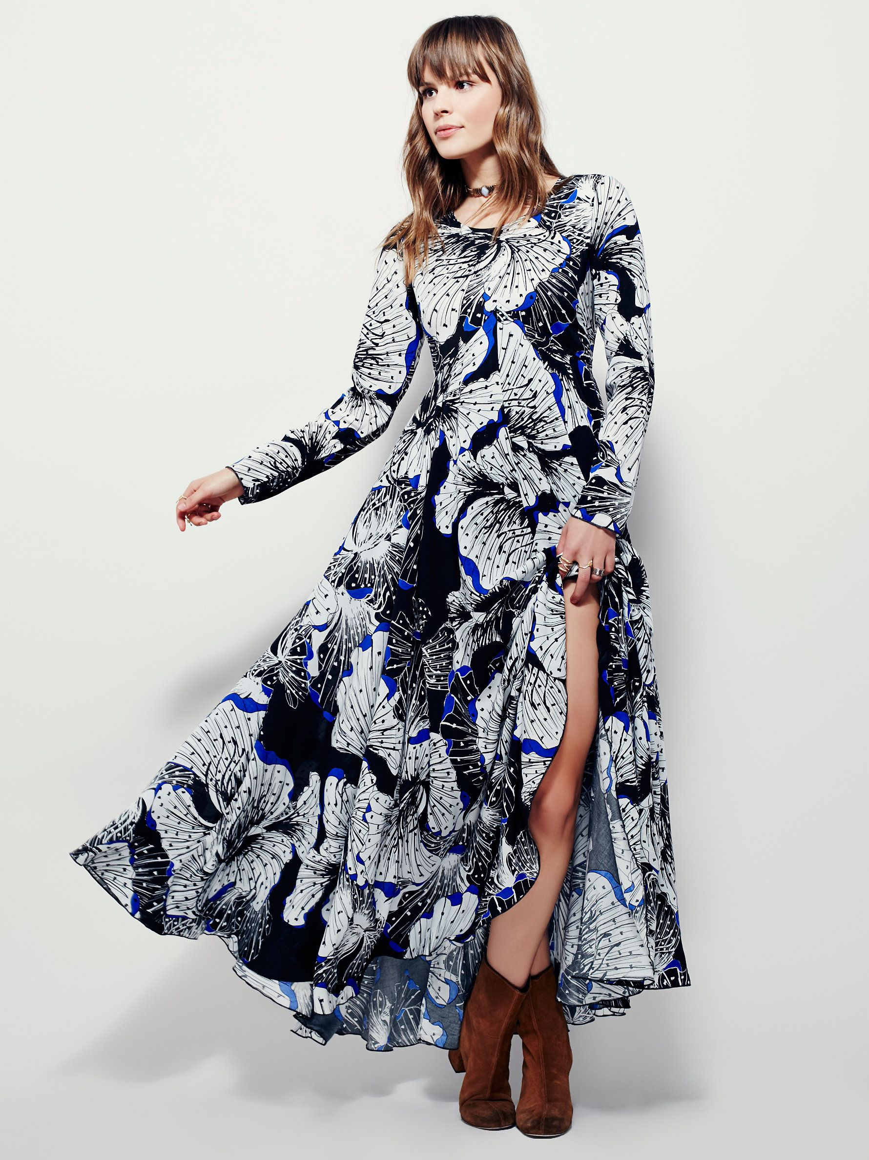 2b75a12b1f8e6 First Kiss Dress | Long-sleeved floral printed maxi. Button back closure  and keyhole
