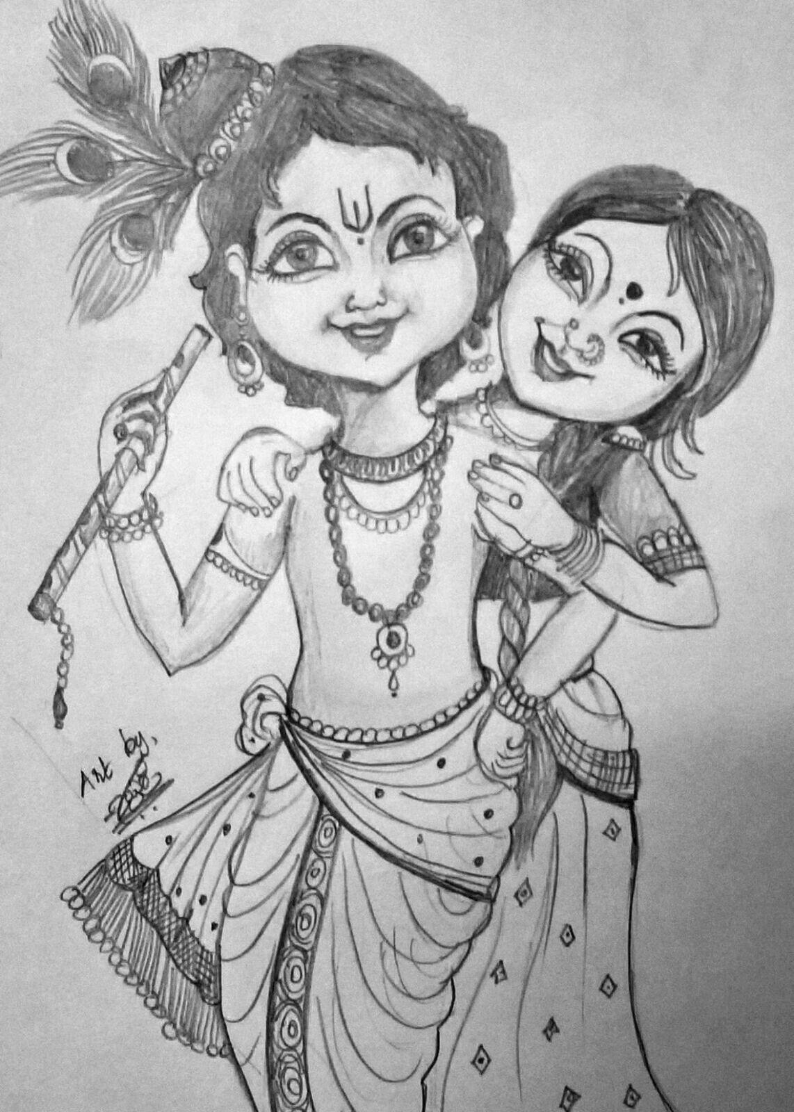 Krishna Ji Pencil Sketch Black And White