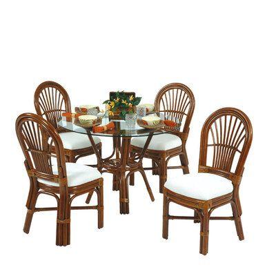 Islamorada 5 Piece Rattan Dining Set All Side Chairs Indoor Wicker Furniture Wicker Dining Set Wicker Furniture